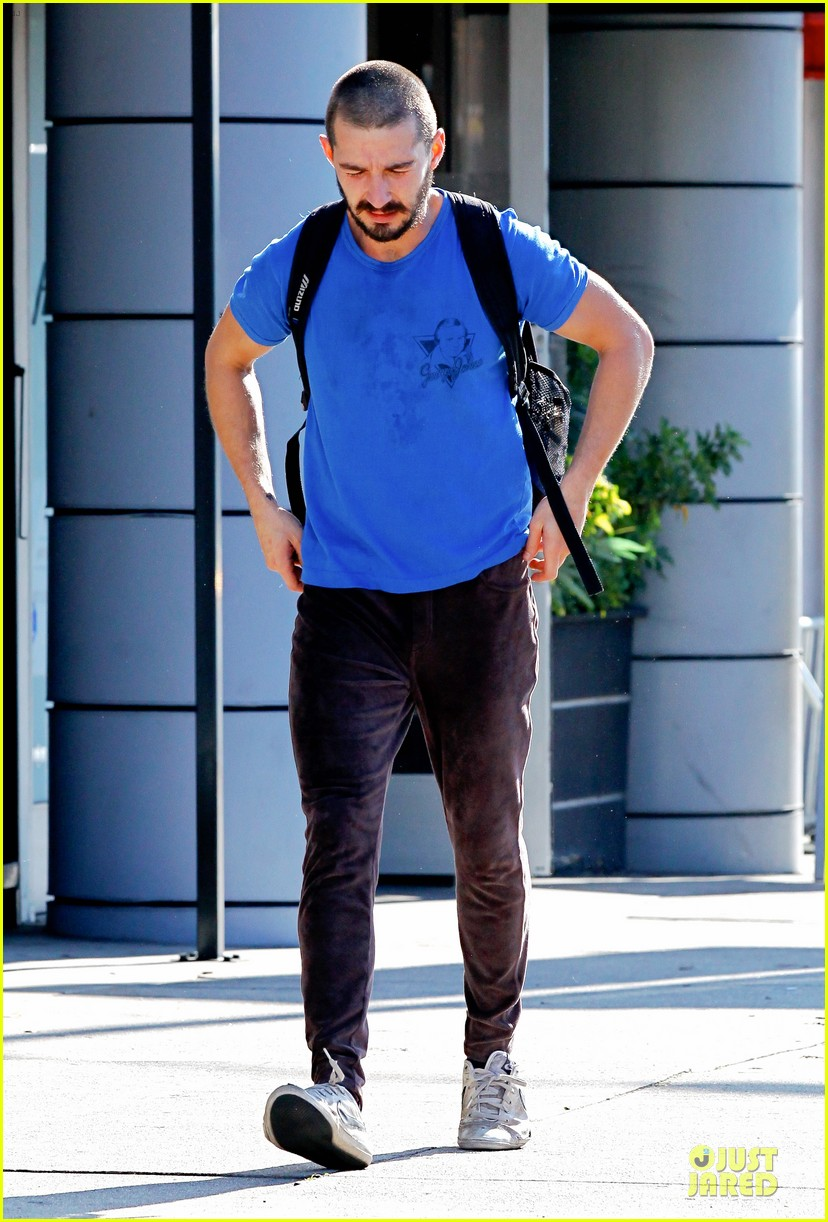 shia labeouf debuts new buzz cut at the gym 06