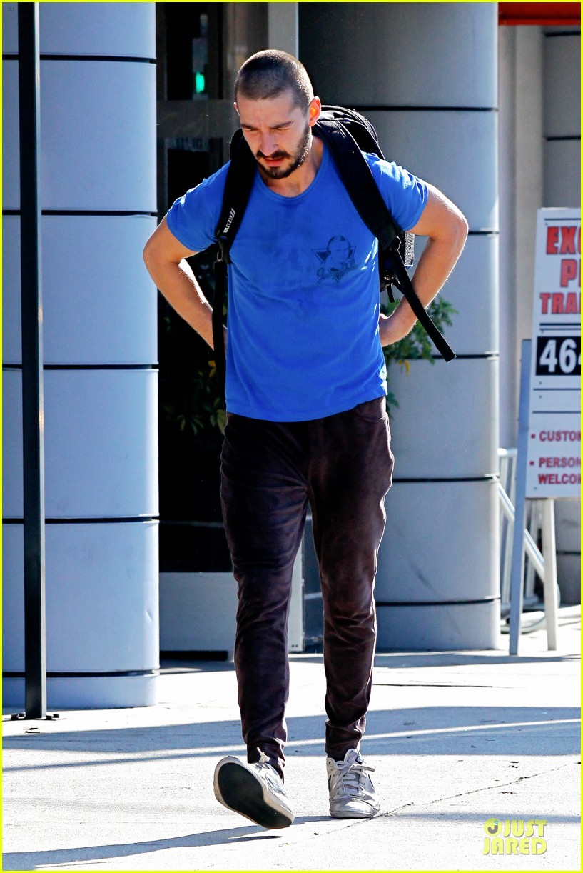 shia labeouf debuts new buzz cut at the gym 11