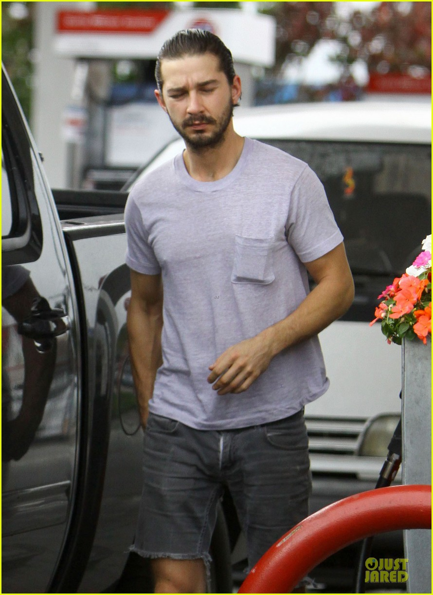 shia labeouf clogs gas station in los angeles 042768101