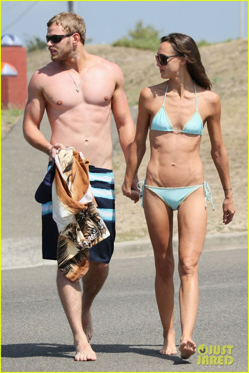 kellan lutz shirtless beach day with sharni vinson 252780312