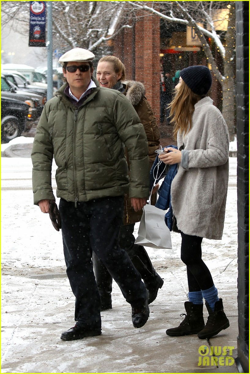 uma thurman arpad busson snow aspen stroll with maya 112780786