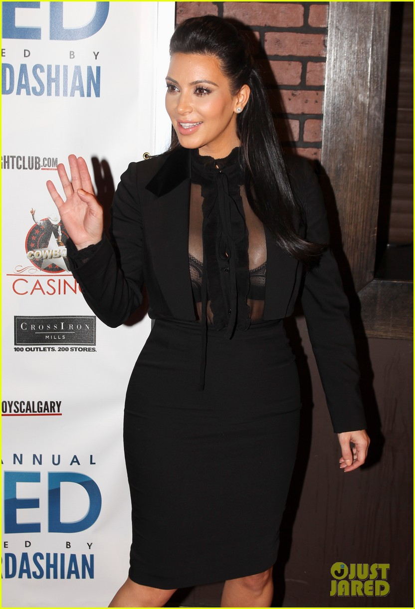 pregnant kim kardashian sheer top at iced event 04
