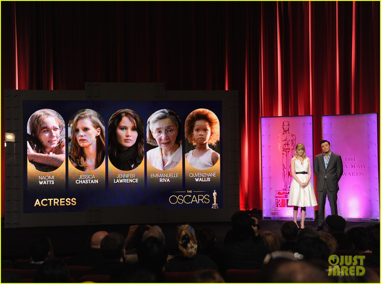 emma stone seth macfarlane announce oscar nominations 2013 05