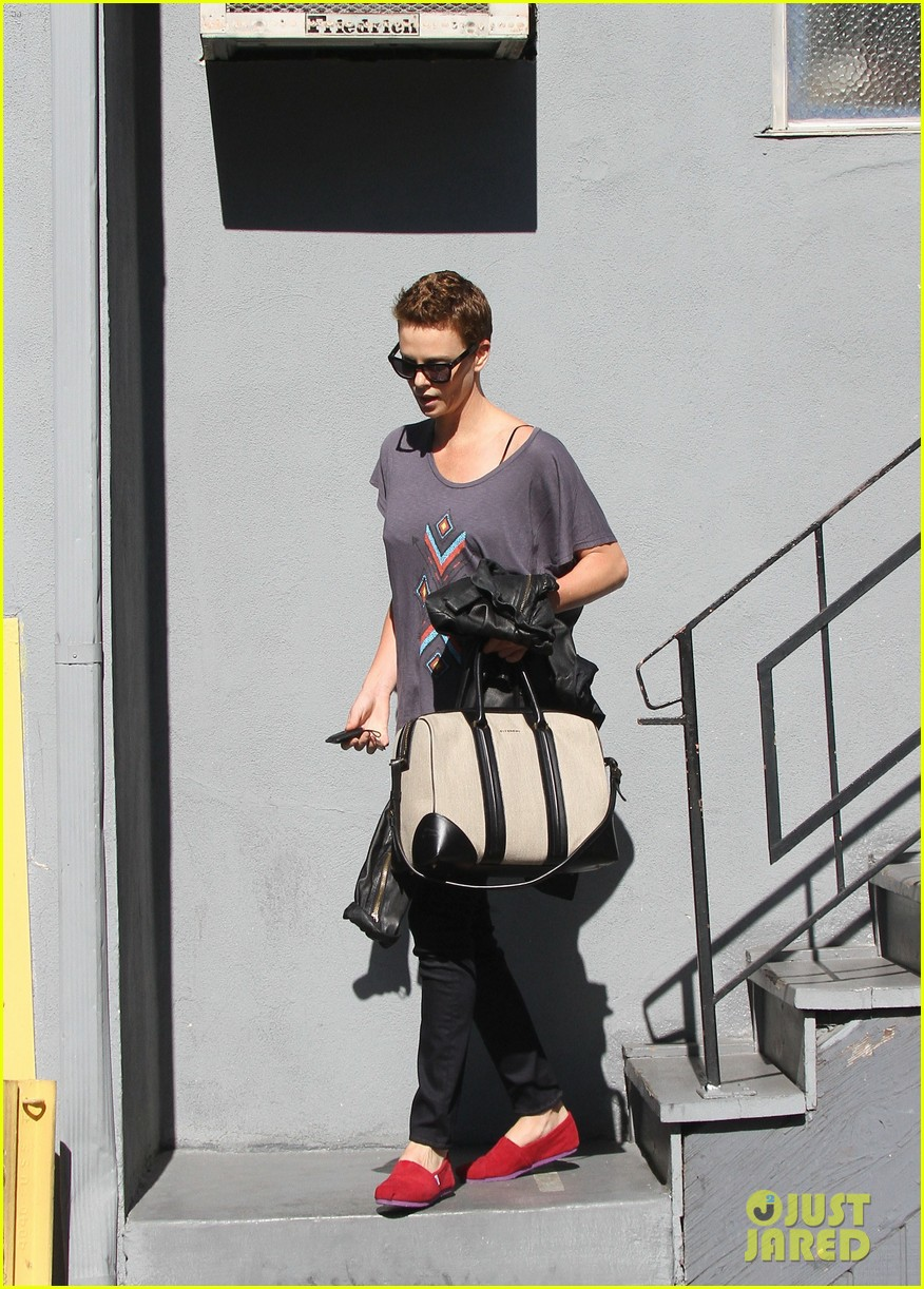 charlize theron fauxhawk hairstyle at the dance studio 052802097