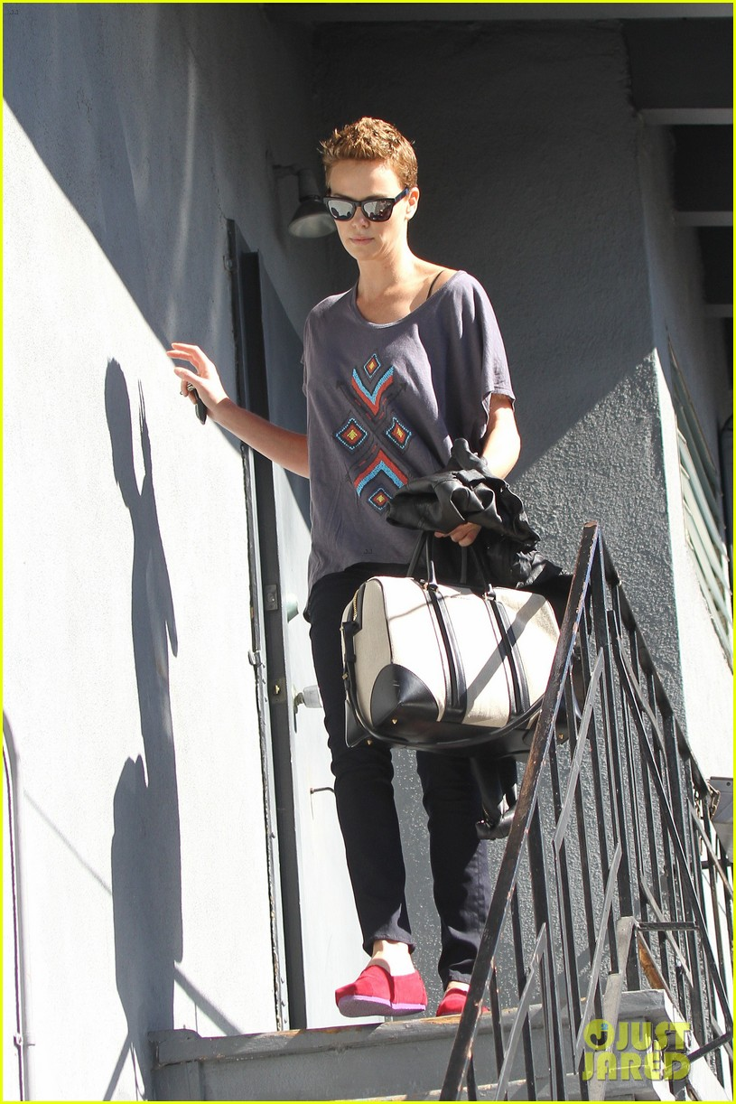 charlize theron fauxhawk hairstyle at the dance studio 102802102