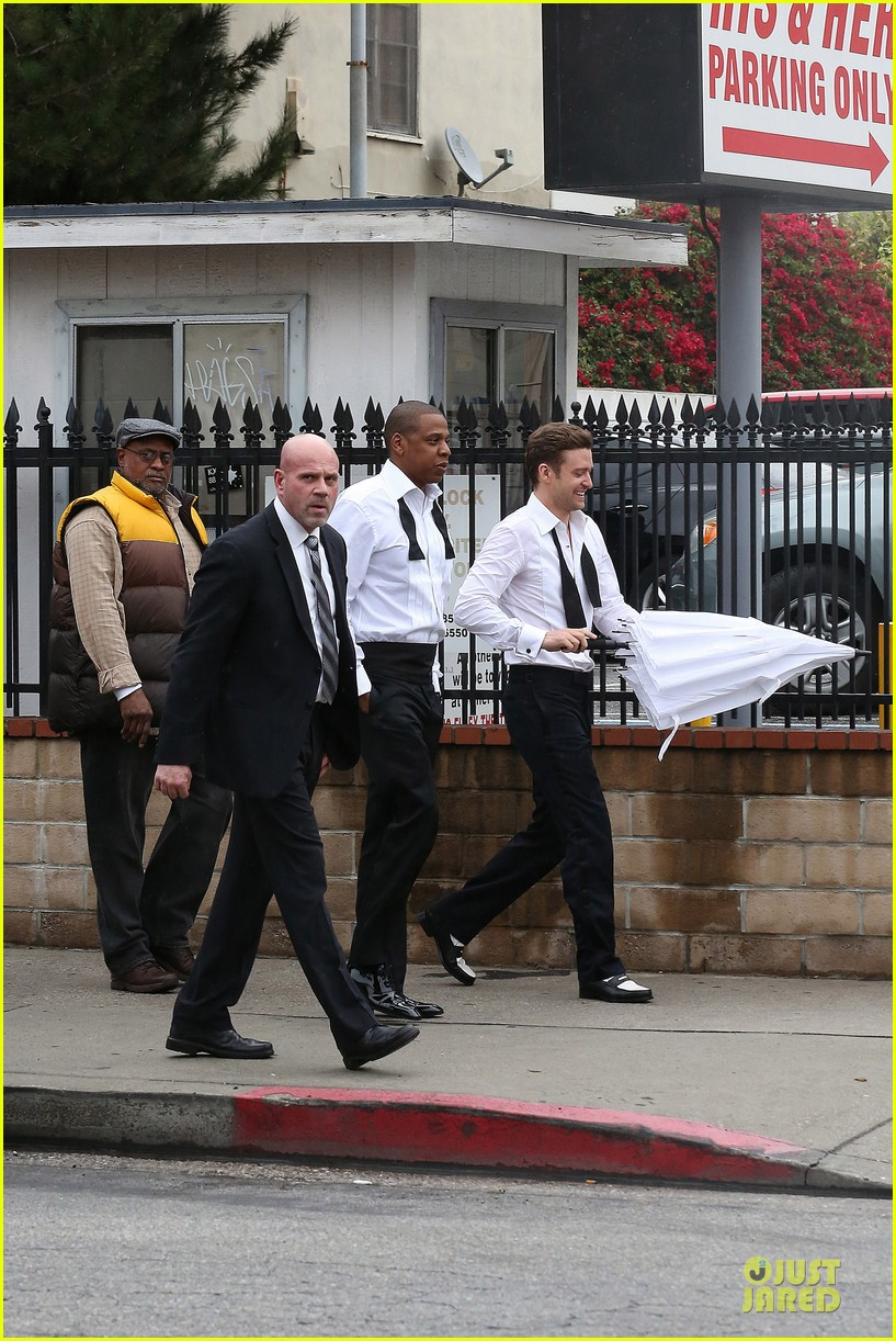 justin timberlake suit & tie music video shoot with jay z 052798638