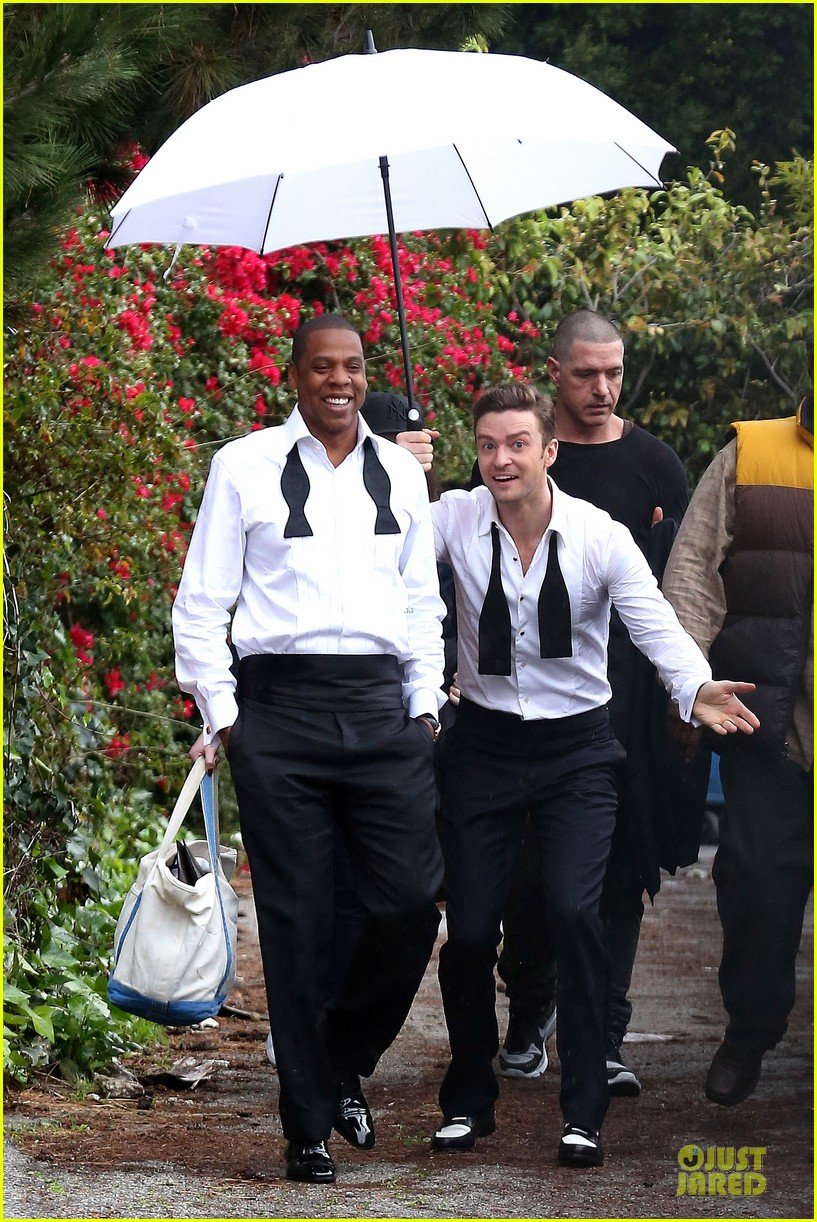 justin timberlake suit & tie music video shoot with jay z 07
