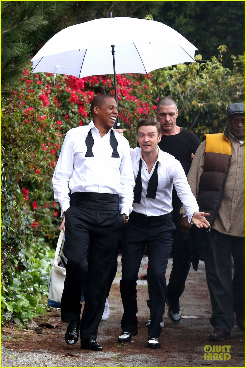 justin timberlake suit & tie music video shoot with jay z 10