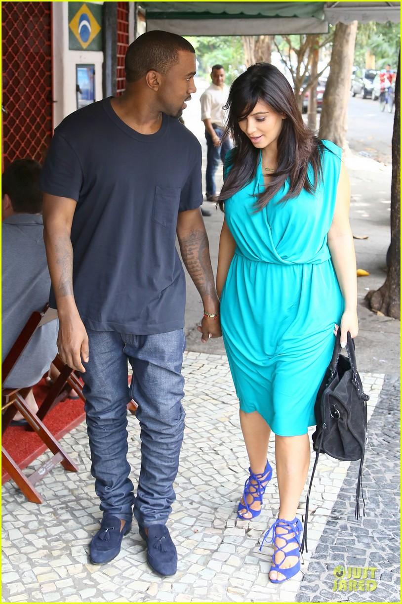 Pregnant Kim Kardashian & Kanye West: Kisses in Rio!: Photo 2807460 ...