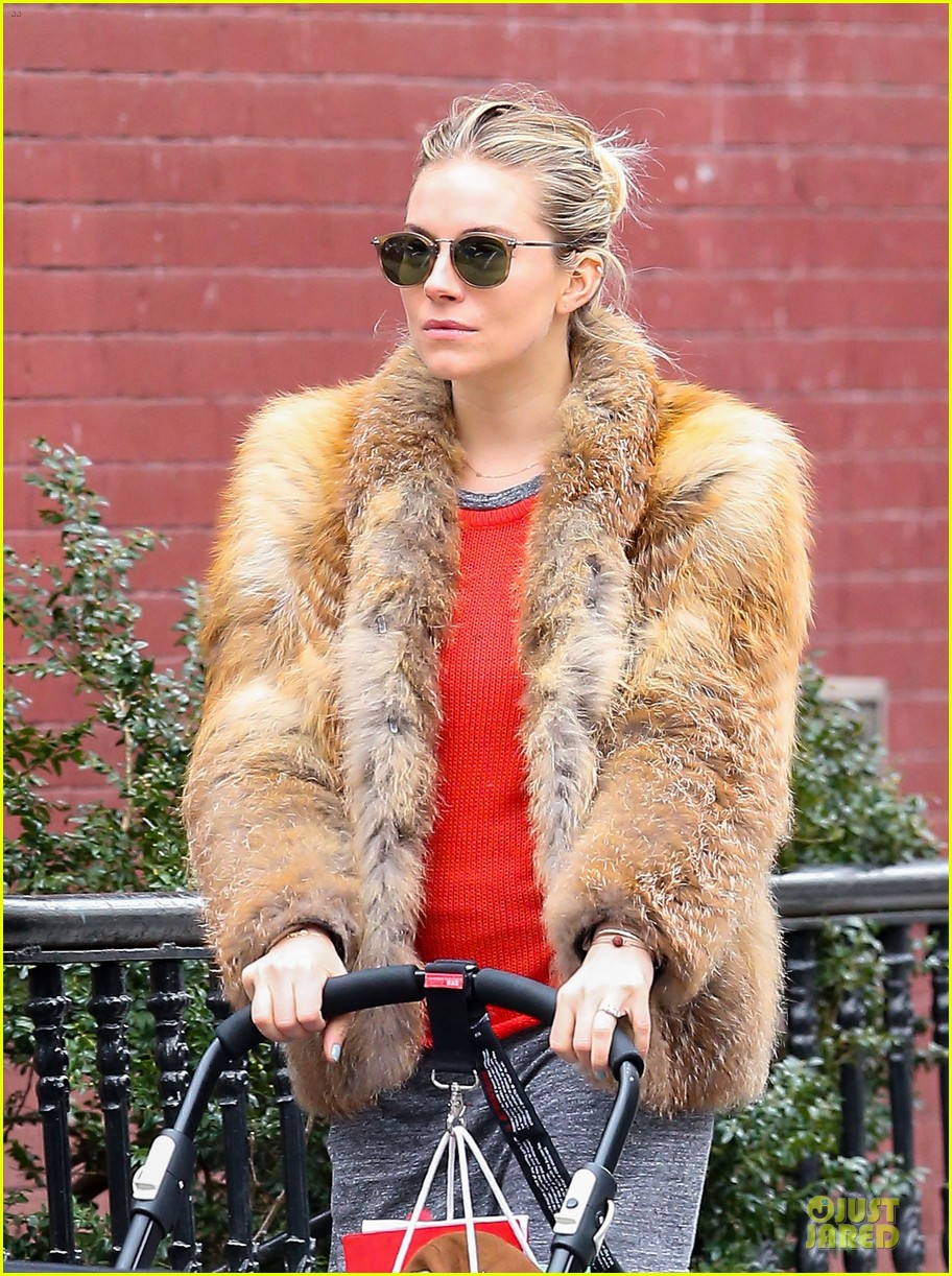 sienna miller fur coat stroll with marlowe 02