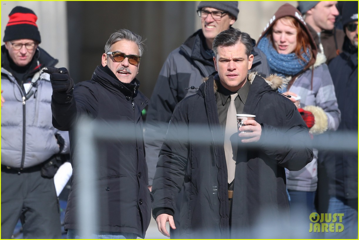 george clooney monuments men set with matt damon 042837694