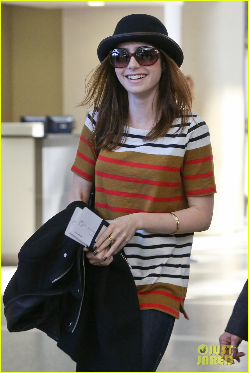 lily collins bowler babe at lax 09