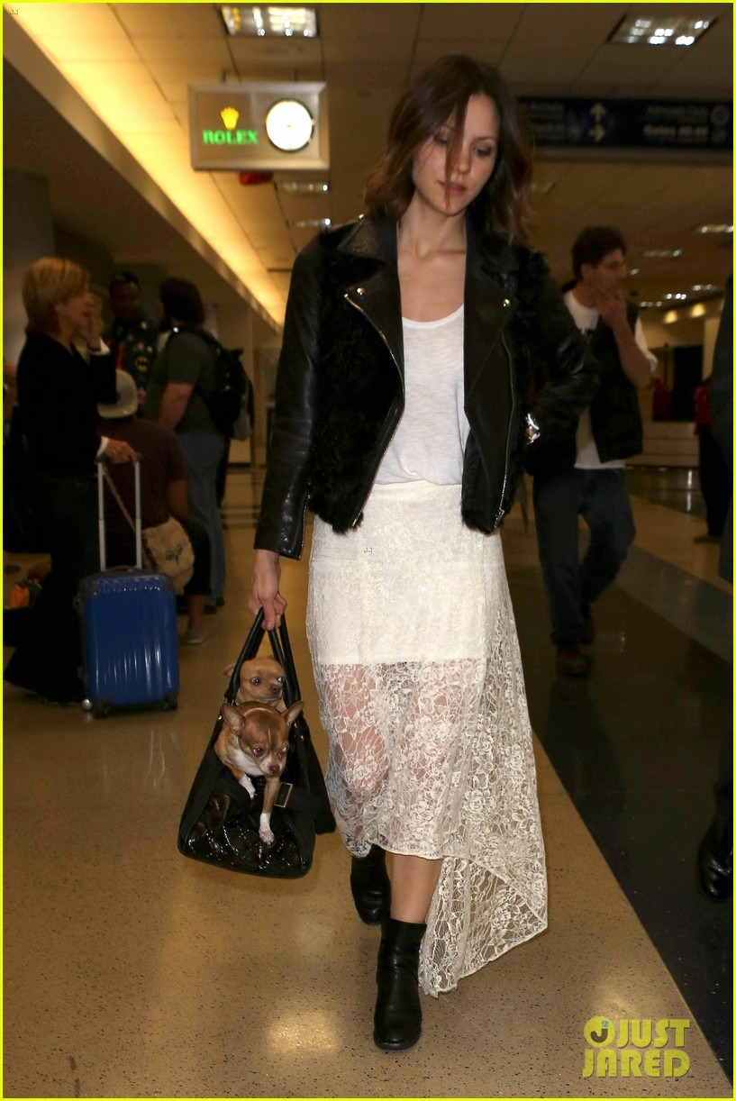 katharine mcphee double puppy purse at airport 112831782