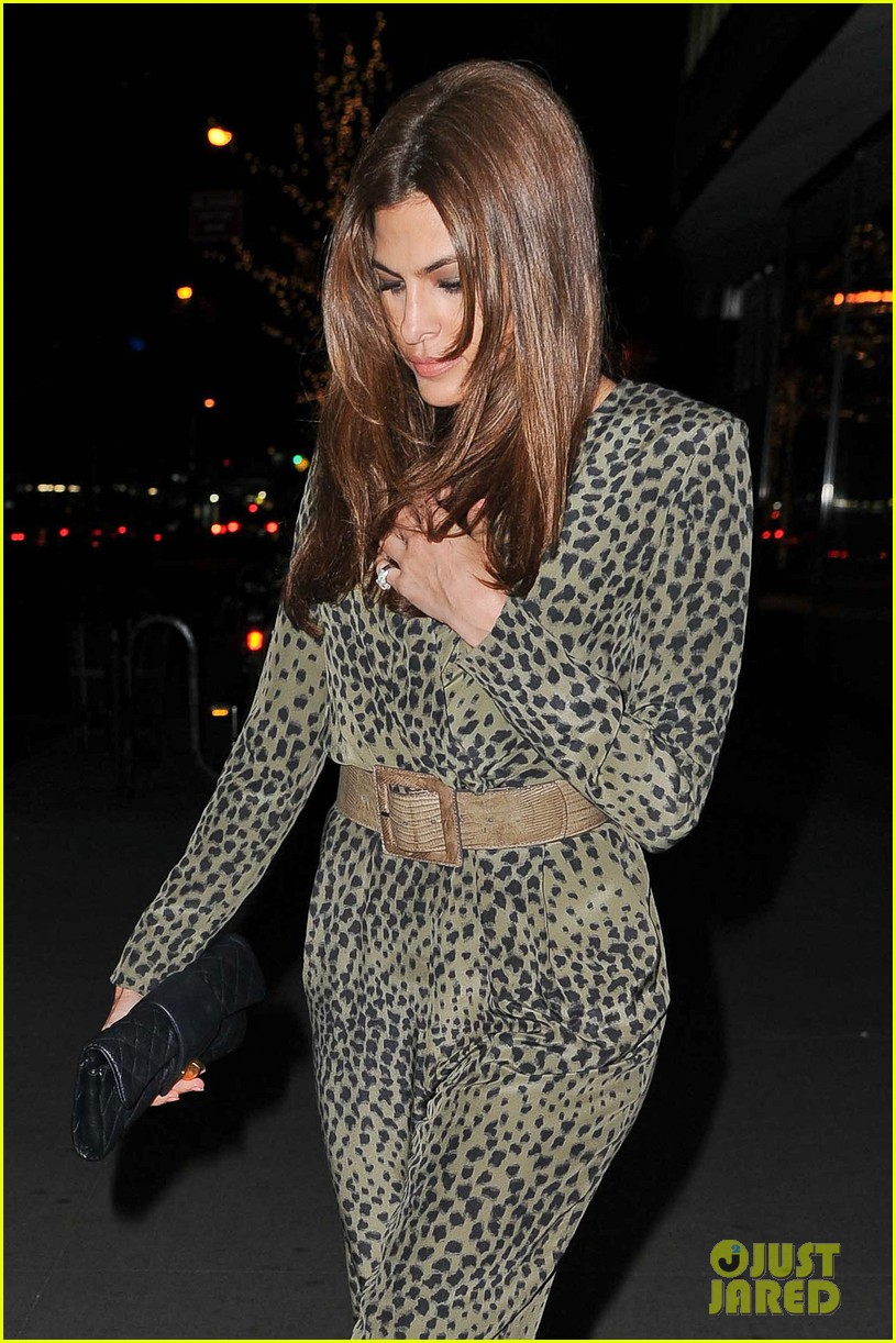 eva mendes leopard jumpsuit at private moma screening 022839048