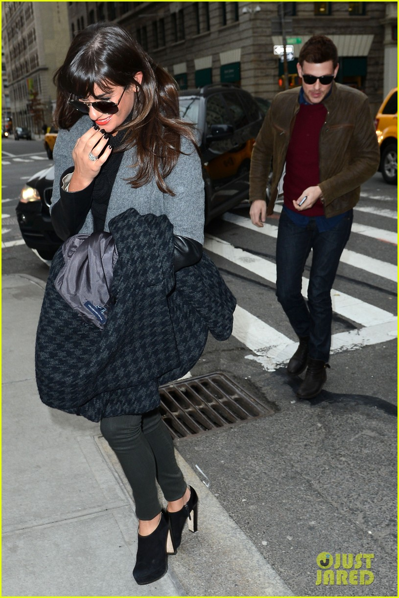 lea michele cory monteith big apple lunch 03