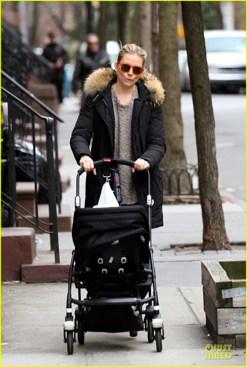sienna miller stroller pushing with marlowe 012829733