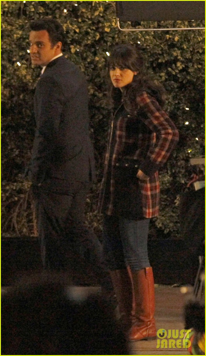 zooey deschanel beso new girl filming 01