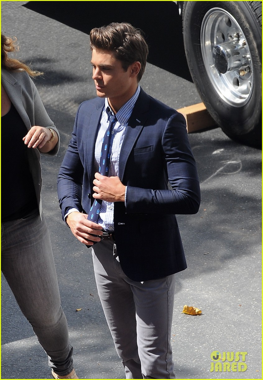 zac efron suit flip flops on townies set 09
