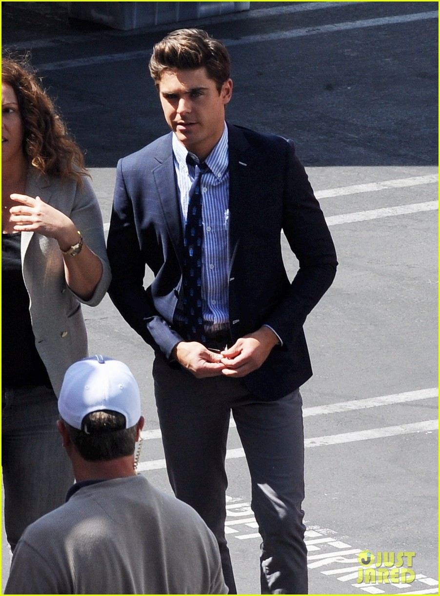 zac efron suit flip flops on townies set 122845709