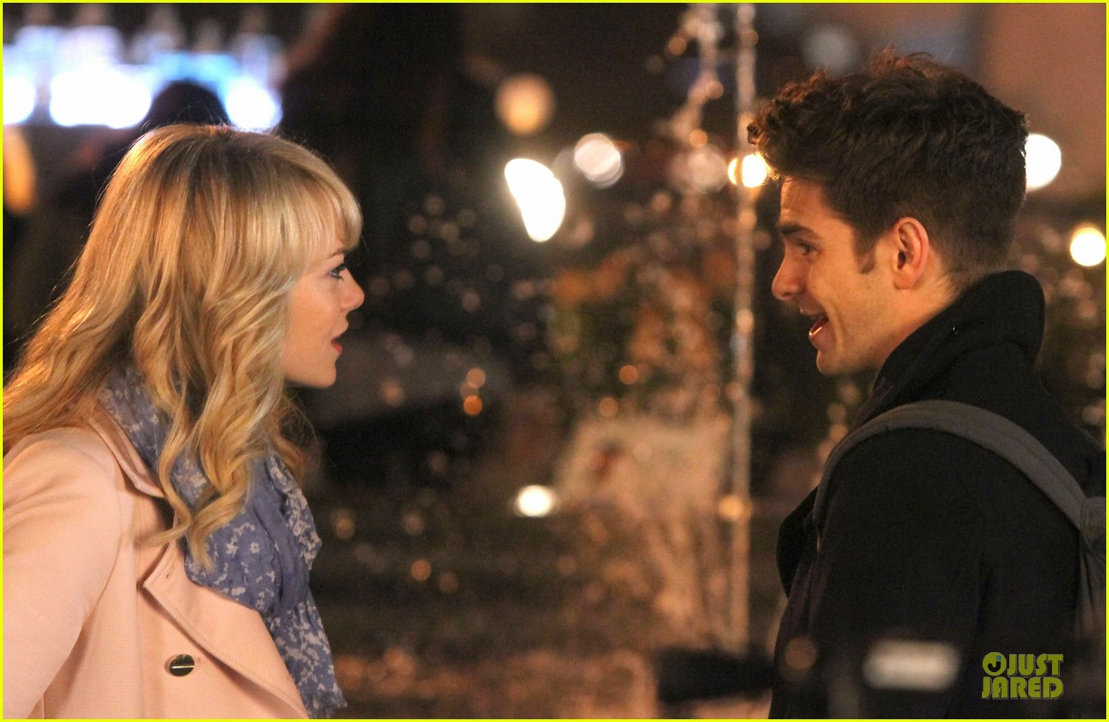 emma stone andrew garfield night scenes on amazing spiderman 2 set 112851758