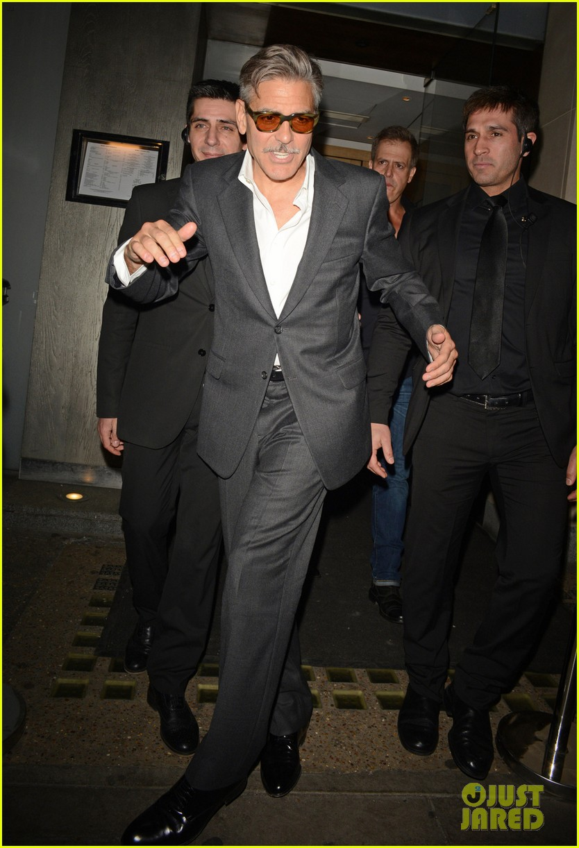 george clooney nobu exit in london 042876635