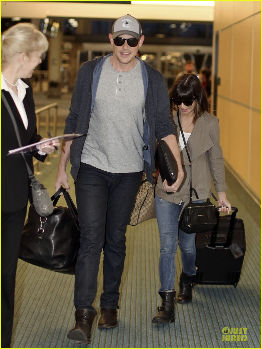 lea michele cory monteith vancouver departing couple 03