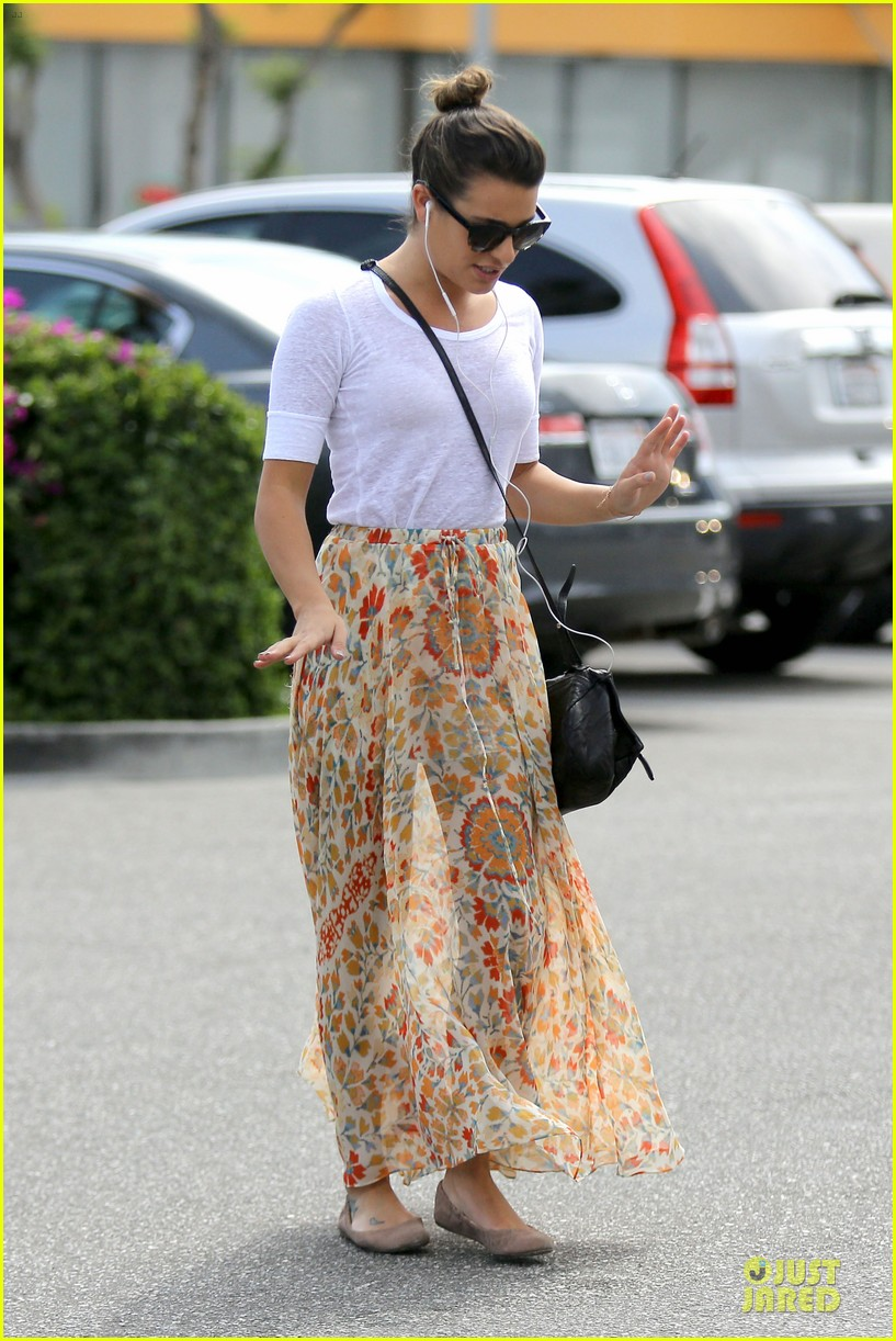 lea michele sheer grocery run cory monteith striped office meeting 242872604
