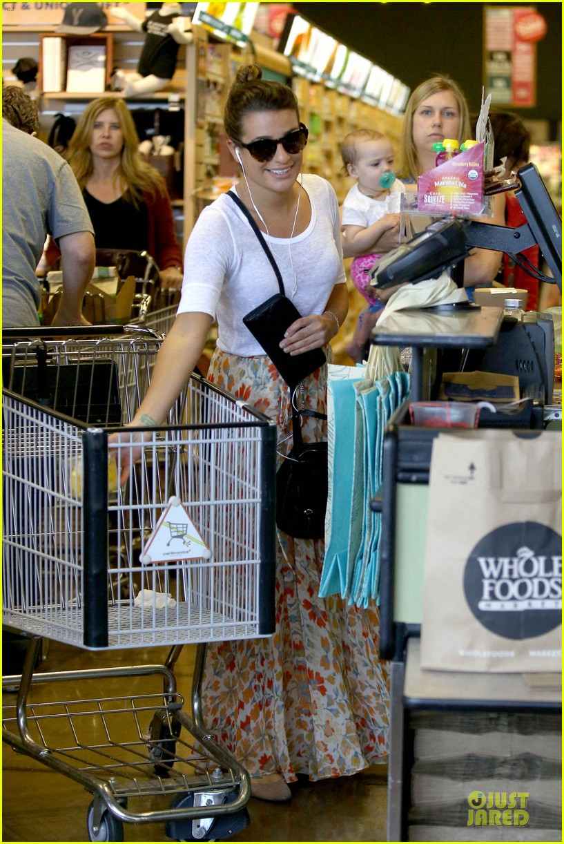 lea michele sheer grocery run cory monteith striped office meeting 282872608
