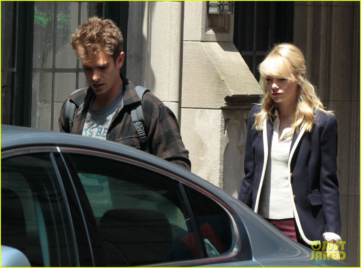 emma stone andrew garfield day 82 on spider man 2 set 10