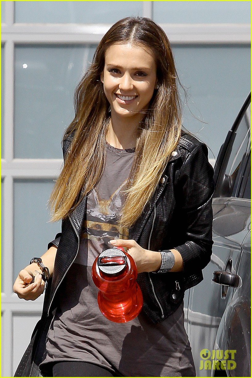 jessica alba biker chic before girls night out 062899930