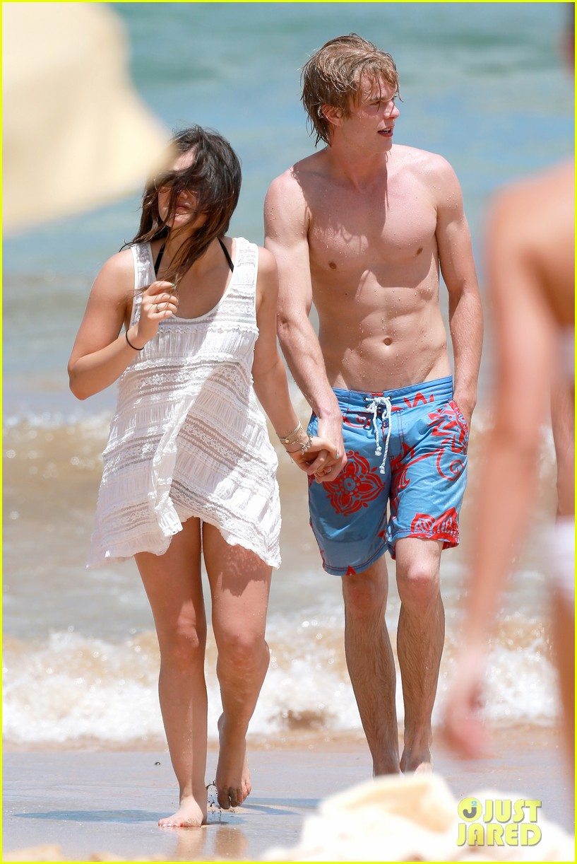 lucy hale more beach fun with shirtless graham rogers 11