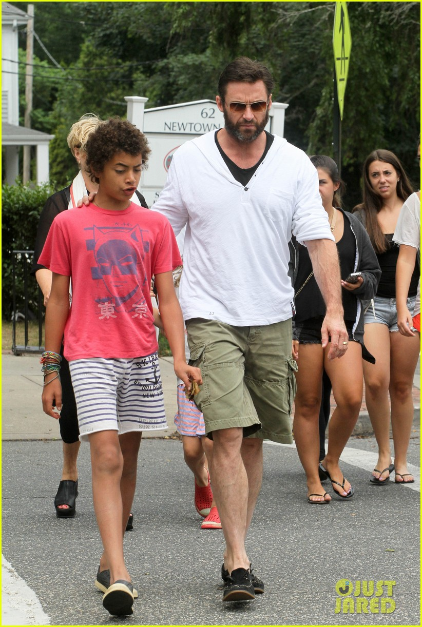 hugh jackman hangs with family wolverine hits theaters 09