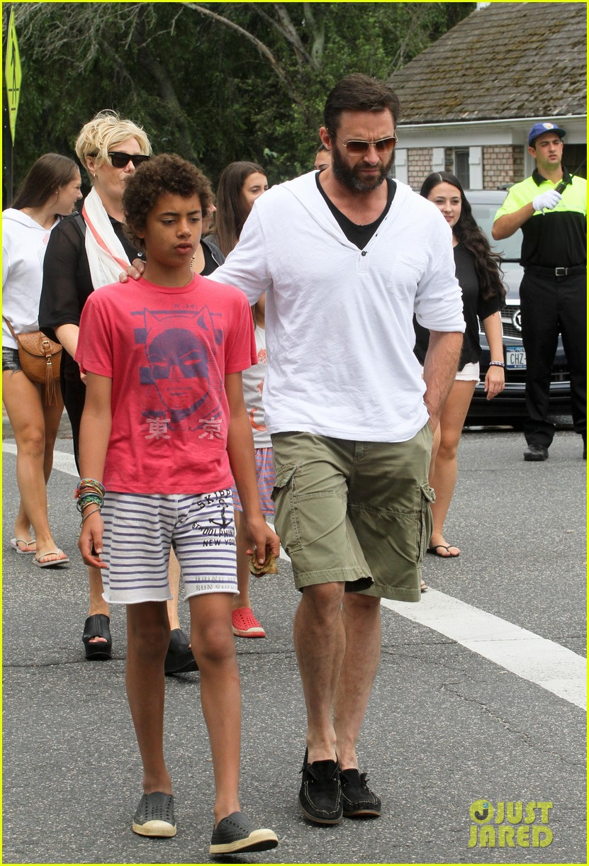 hugh jackman hangs with family wolverine hits theaters 12