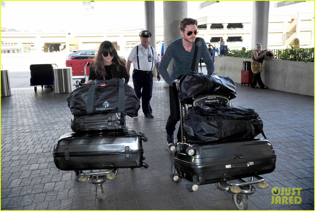richard madden jenna coleman lots of luggage at lax 06