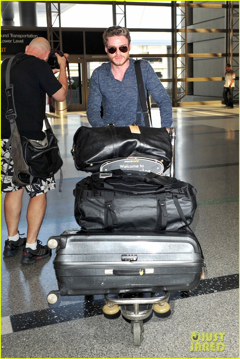richard madden jenna coleman lots of luggage at lax 08