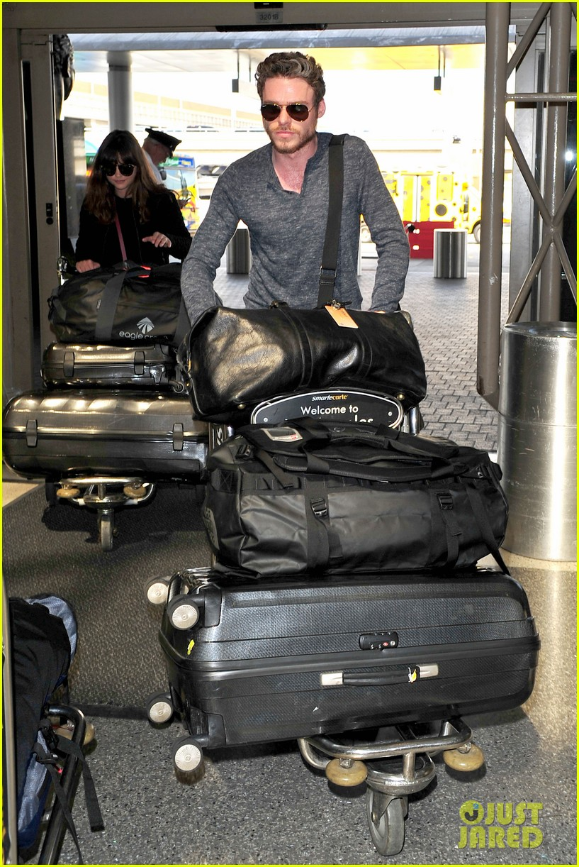 richard madden jenna coleman lots of luggage at lax 222917839