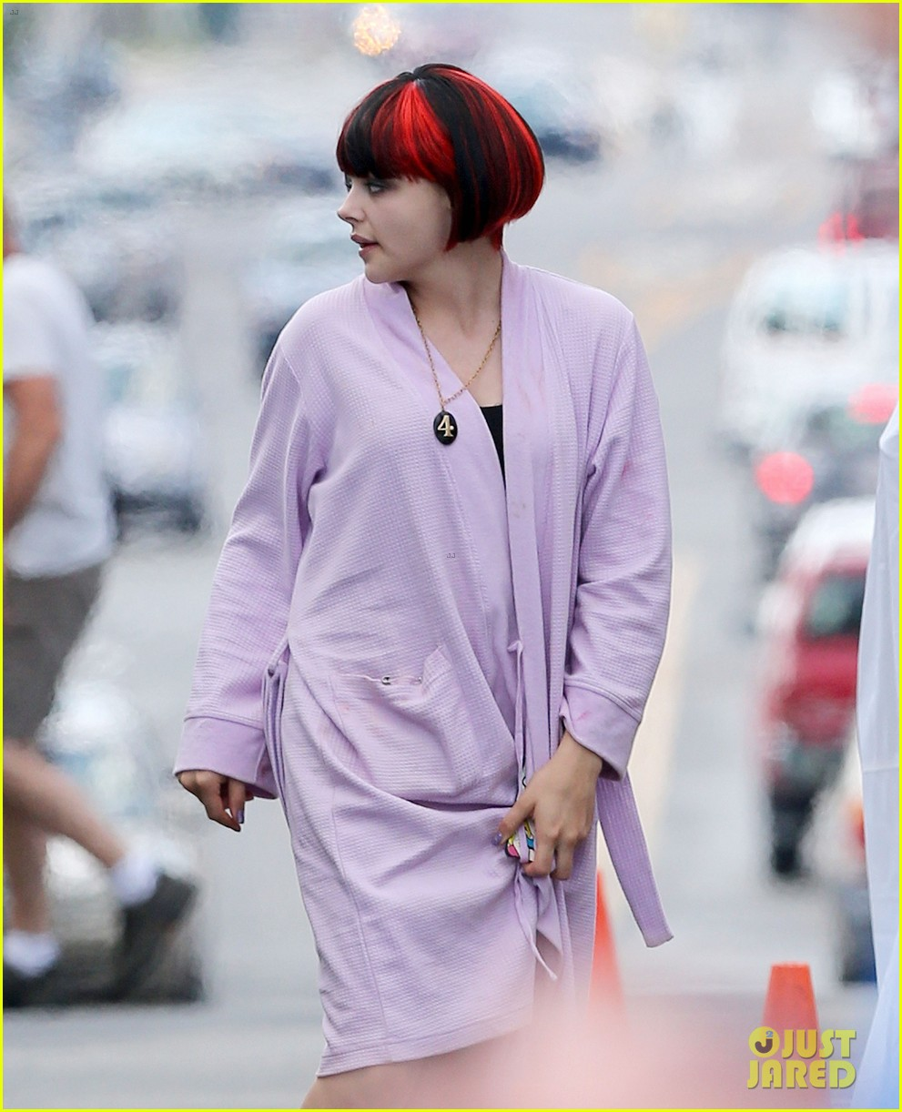 chloe moretz wears multi colored wig for equalizer filming 132912074