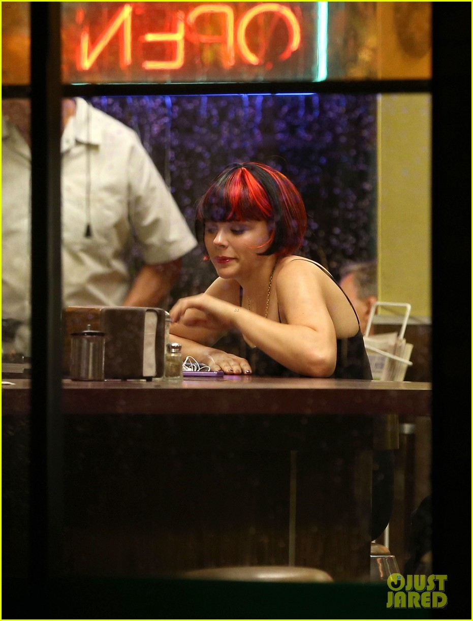 chloe moretz wears multi colored wig for equalizer filming 162912077
