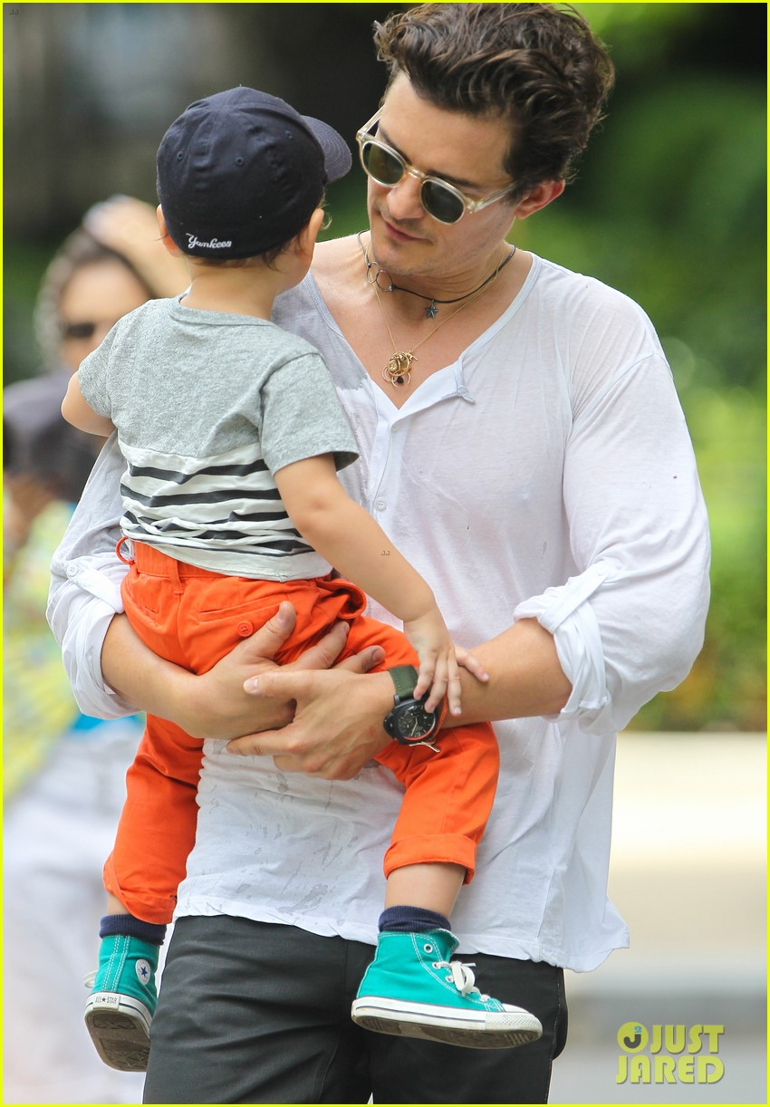 orlando bloom takes flynn to central park miranda kerr hits jfk 17