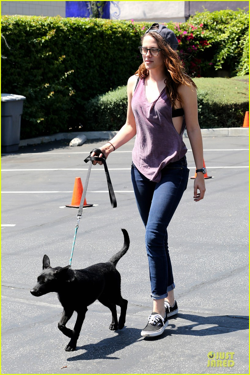 kristen stewart bra revealing walk with new puppy 152920423