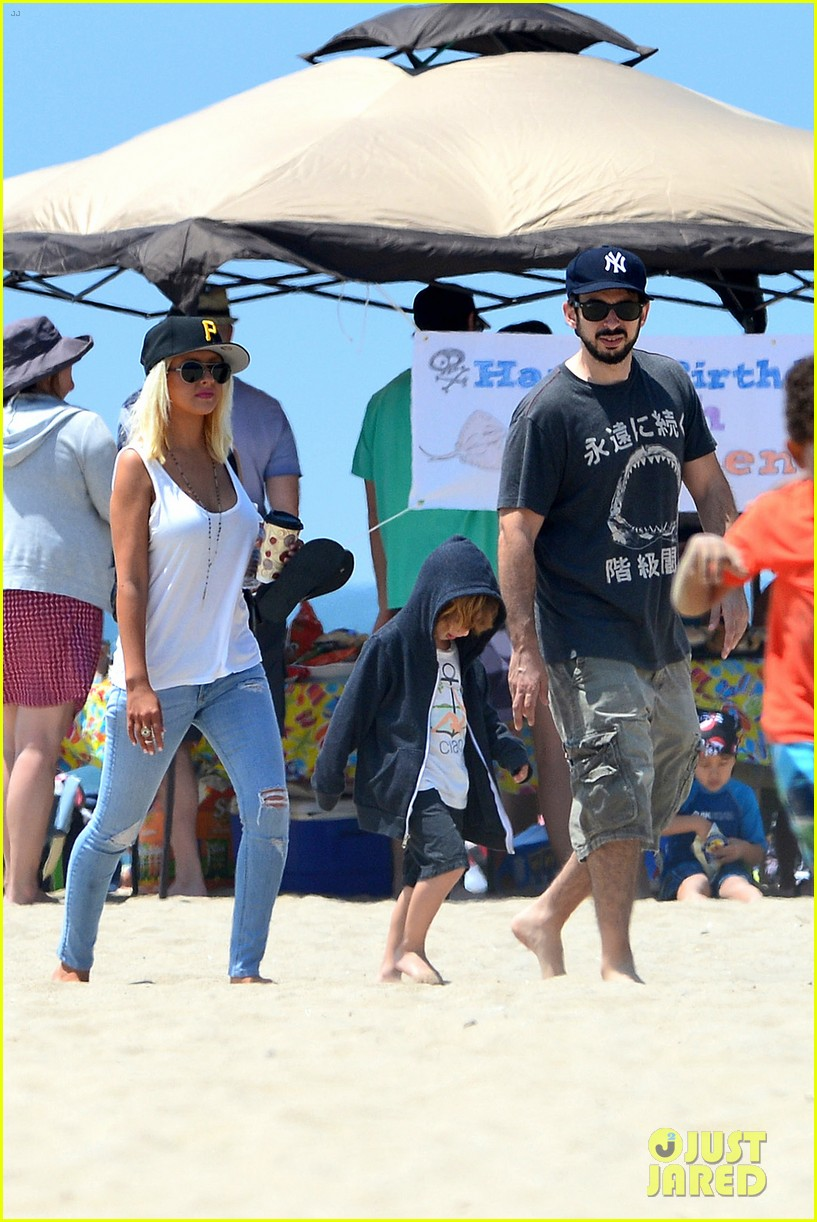 christina aguilera hits the beach with jordan bratman max 24