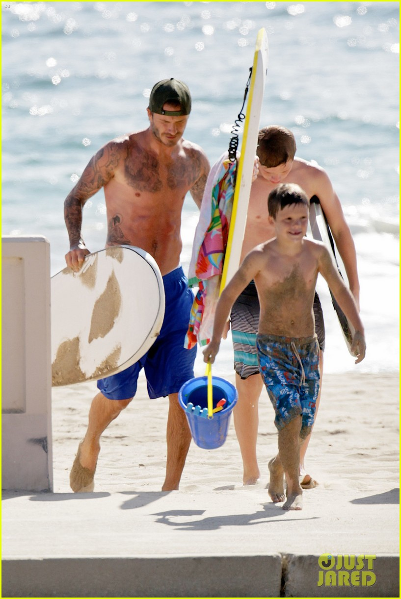 david beckham shirtless surfing with the boys 022940353
