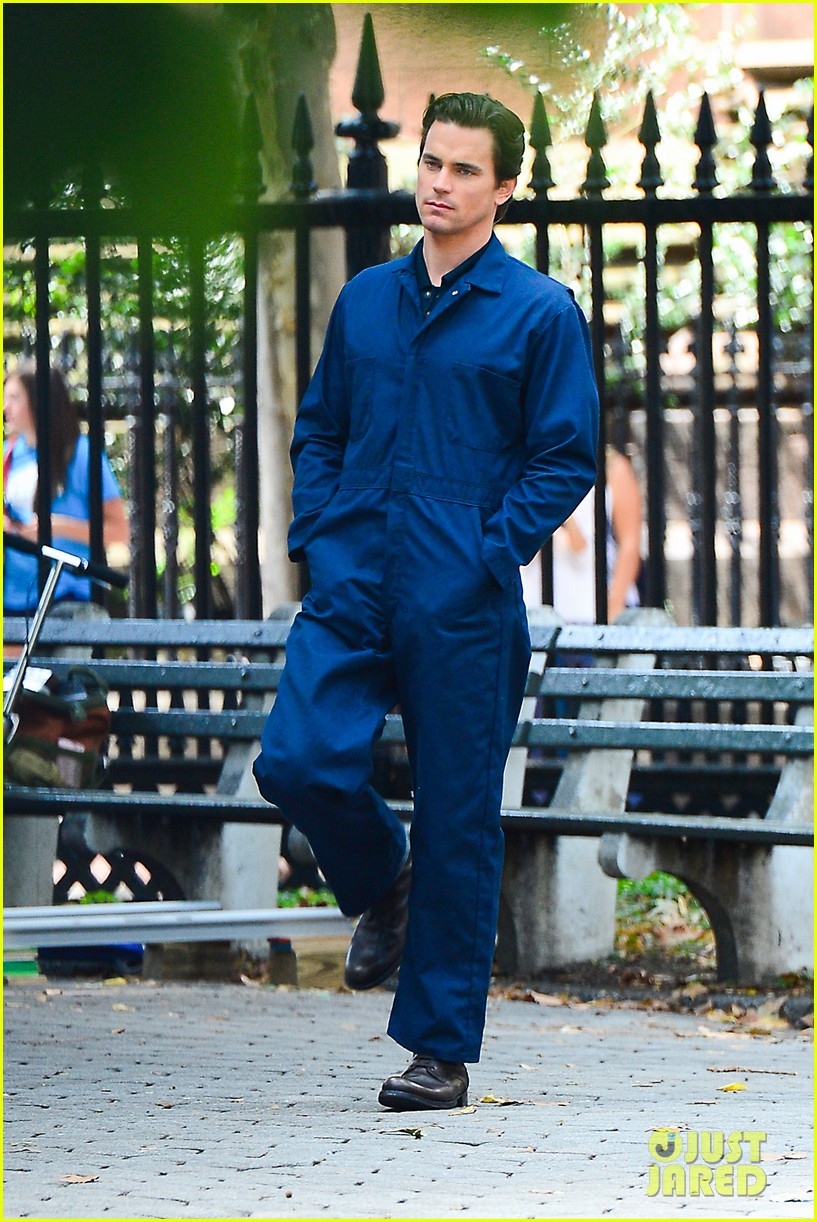 matt bomer wears jumpsuit plays with puppy 092930918