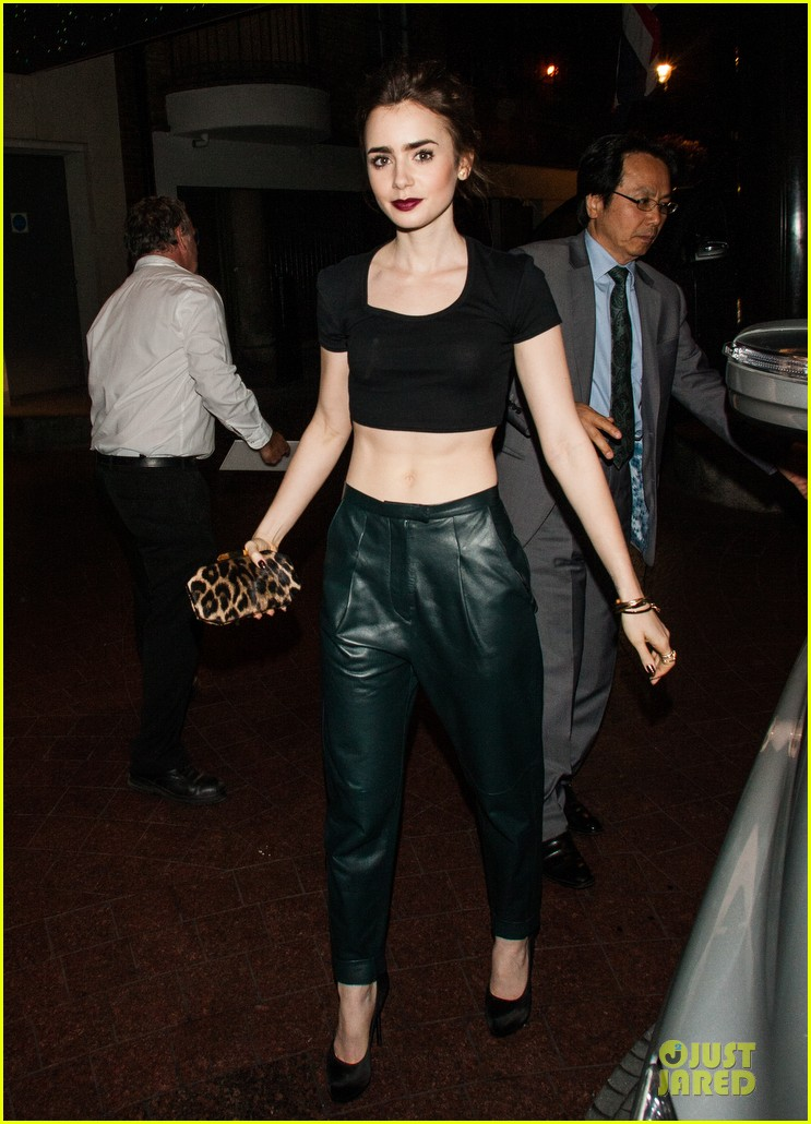 lily collins brings toned abs to ivy club with jamie campbell bower 142933570