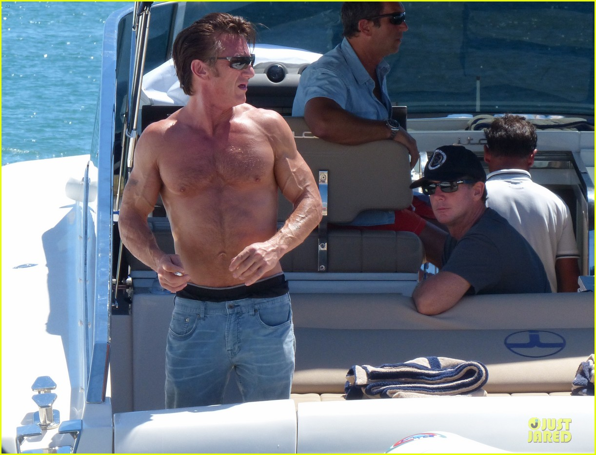 sean penn shirtless ripped on ibiza vacation 092928335