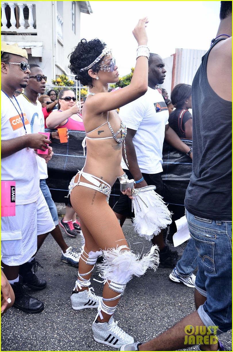 rihanna wears next to nothing for barbados carnival parade 03