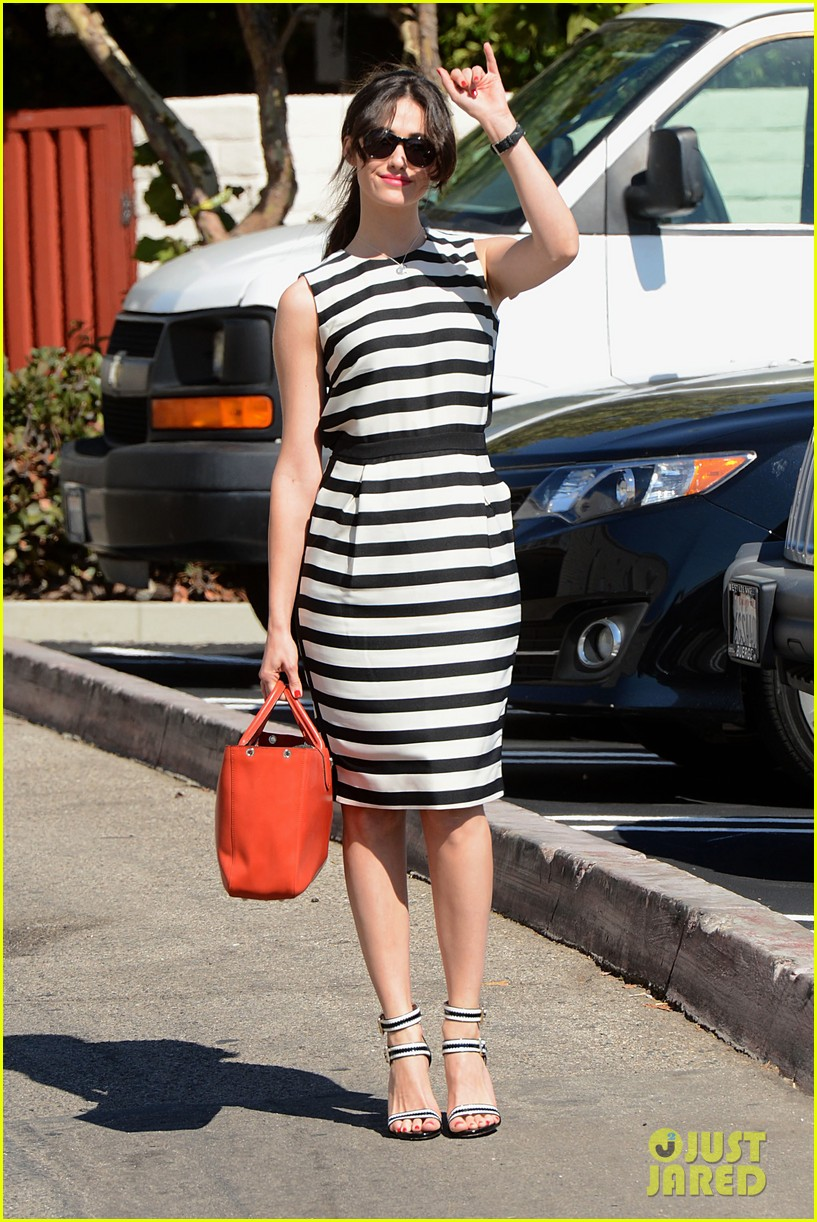 emmy rossum shows her stripes in brentwood 022926629