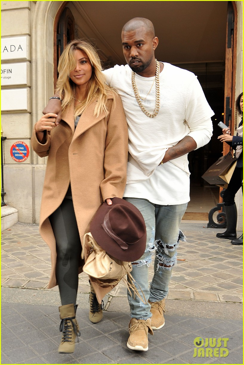 kim kardashian kanye west step out together in paris 16
