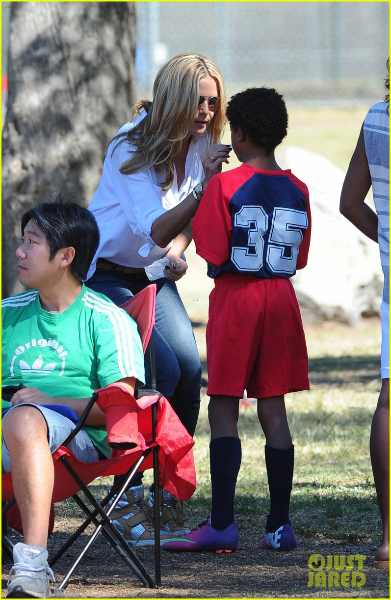 heidi klum tends to henry bloody nose soccer game 042962686
