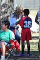 heidi klum tends to henry bloody nose soccer game 04